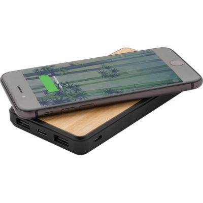 The Anti-Germ Bamboo 8000mAh Wireless Powerbank is a slim rectangular shaped natural bamboo powerbank treated with Biomaster technology to prevent the growth of harmful microorganisms on the surface. Features a soft touch trim finish, 5W wireless charging pad, Type-C & micro USB connection, light to indicate battery capacity and a 8000mAh rechargeable lithium ion battery
