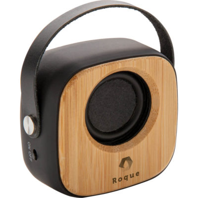 The Anti-Germ Bamboo Bluetooth Speaker is a round square shaped natural bamboo portable V5.0 Bluetooth speaker treated with Biomaster technology to prevent the growth of harmful organisms on the surface, with a soft touch trim and PVC handle, side on/off switch, 10m connection distance and 4 hour playing time