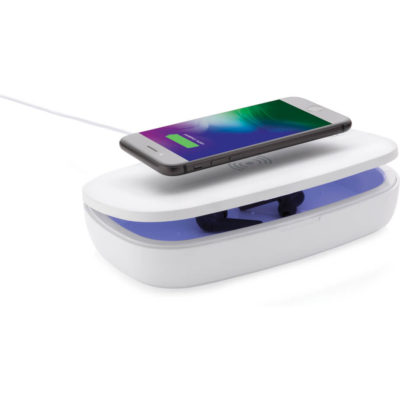 The UV-C Sterilisation Box & Wireless Charge is a white ABS box with flip open lid to reveal an UV-C sterlisation compartment to clean your phone, cards, face mask and other belongings by means of a UV-C LED light. With a 5W wireless charging pad on the lid to charge your devices and includes a white PVC charging cable