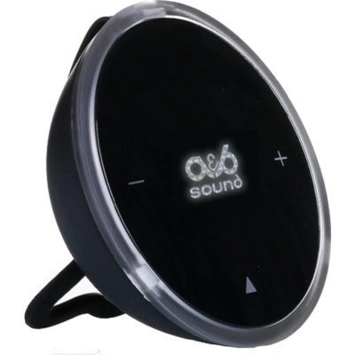 The Bluetooth Speaker With Light Up Logo is a black round plastic portable speaker with a 3W Bluetooth speaker, 10m operating distance, 3 hour playtime, ambient changing light, microphone and soft hanging loop