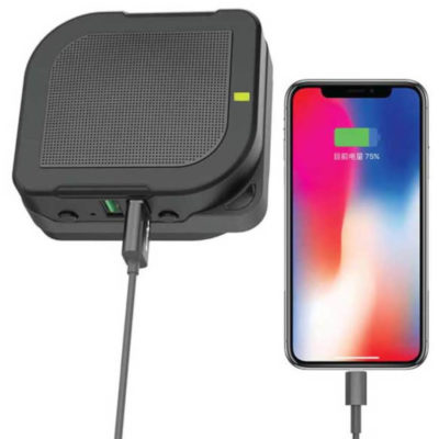 The Travel Adapter, Powerbank & Speaker is is a black fire retardant PC adapter, with UK, EU, USA and AUS/NZ plug connections and a two USB port charger with a 3000mAh power bank and a Bluetooth speaker