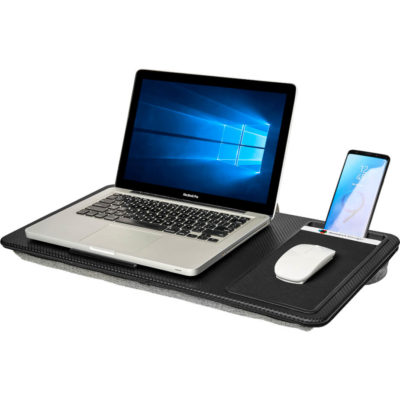 """The Swiss Cougar Ergonomic Lap Desk is a ABs and polyester work from home portable desk item. With a flat ABS surface, to fit a 17"""" laptop, media slot to store your device, a precision tracking mousepad and dual bolster polyester padded pillows underneath that conform to your lap for maximum comfort. Includes a pre-printed belly band with instructions and info."""