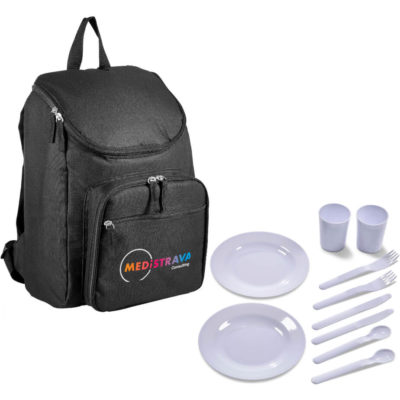 The Sweden Picnic Backpack Cooler is a black 600D backpack with PEVA lining to keep its contents cool. Features two zippered storage compartments, a top carry handle, adjustable shoulder straps and includes a 2 person picnic set namely PP plates, knives, forks, spoons and tumblers that fit securely in the front compartment of the backpack