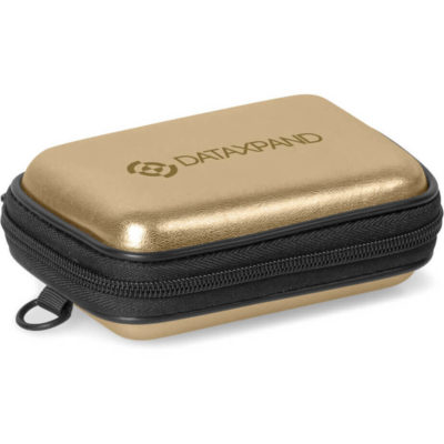 The Potency Executive Tech Case is a gold hard-shell PU & EVA pouch with full length zip closure and large internal expandable storage pocket, with hanging loop