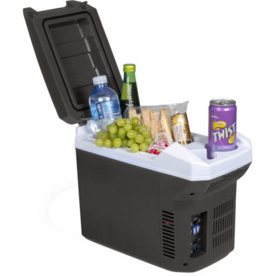 The Harbin Travel Fridge is black PP travel fridge with a flip up lid and two cup external storage compartment. Features a DC 12V voltage, can be plugged into cars cigarette light and set to hot or cold